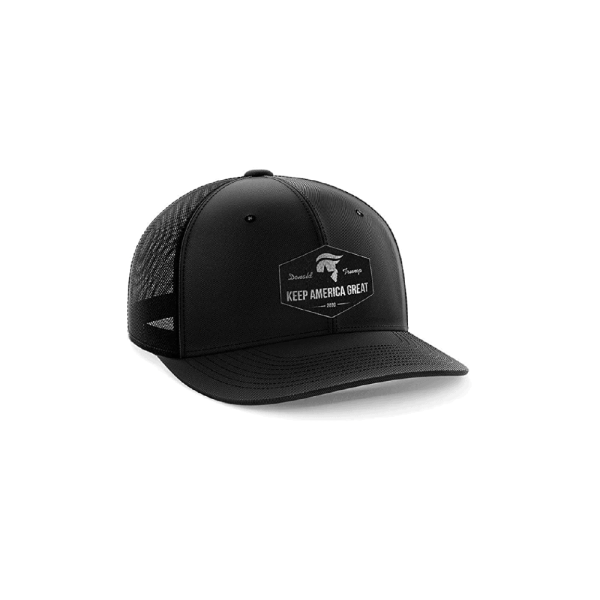 027 Black Leather Keep America Great Baseball Cap