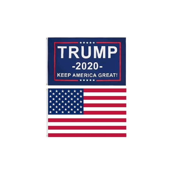 186 Donald Trump Supporters Glags - Trump 2020 and USA Twin Pack