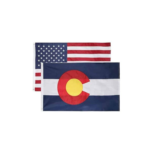 Colorado State and USA Flag, Twin Pack