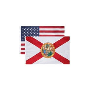 Florida State and USA Flags, Twin Pack