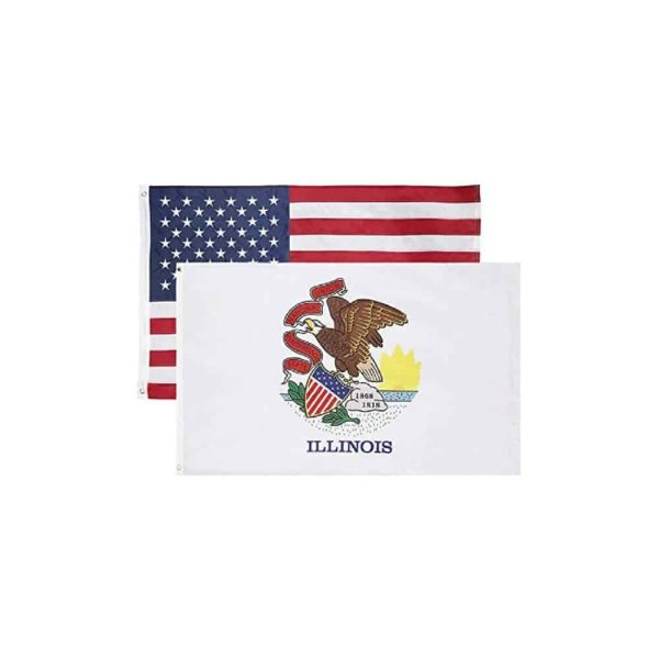 Illinois State and USA Flags, Twin Pack