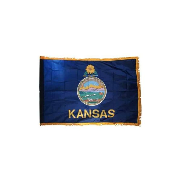 Kansas State Flag, with Gold Trim