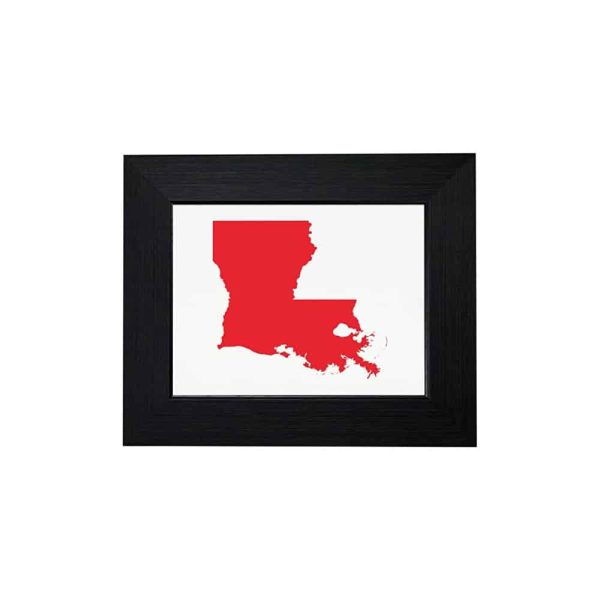 Louisiana State Outline - Republican Red Framed Print