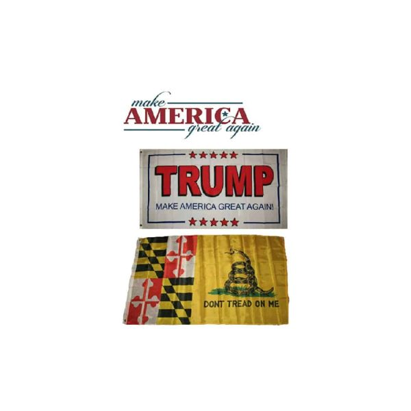 Maryland State Donald Trump MAGA Flags, Twin Pack, White