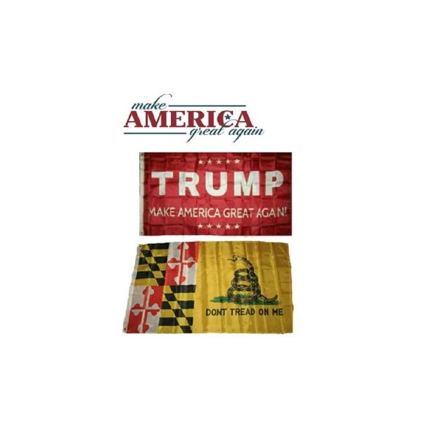 Maryland State Donald Trump MAGA Flags, Twin Pack, Red