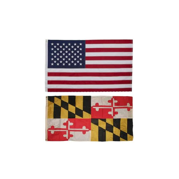 Maryland State and USA State Flags, Twin Pack