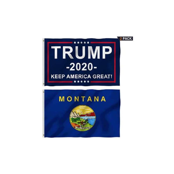Montana State and Trump 2020 MAGA Flags, Twin Pack