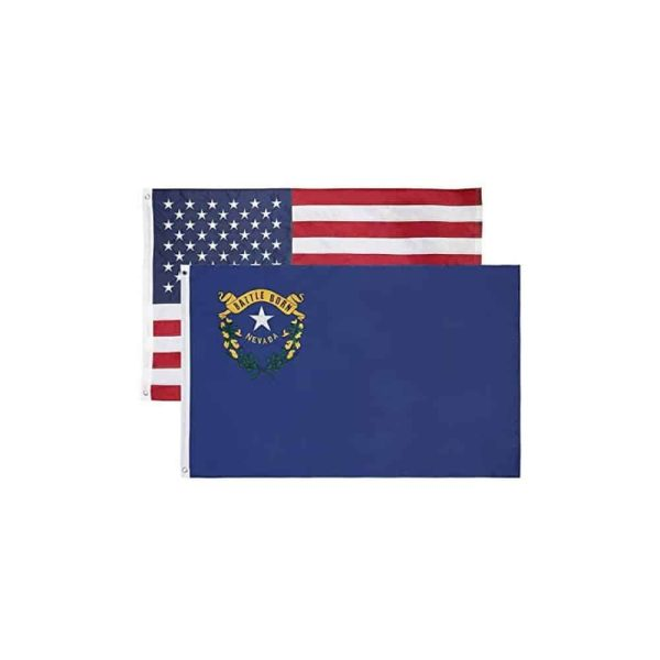 Nevada State and USA Flags, Twin Pack