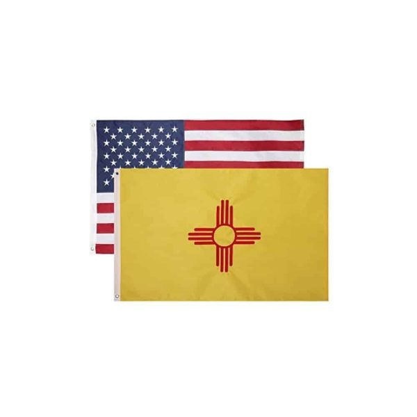 New Mexico and USA State Flags, Twin Pack