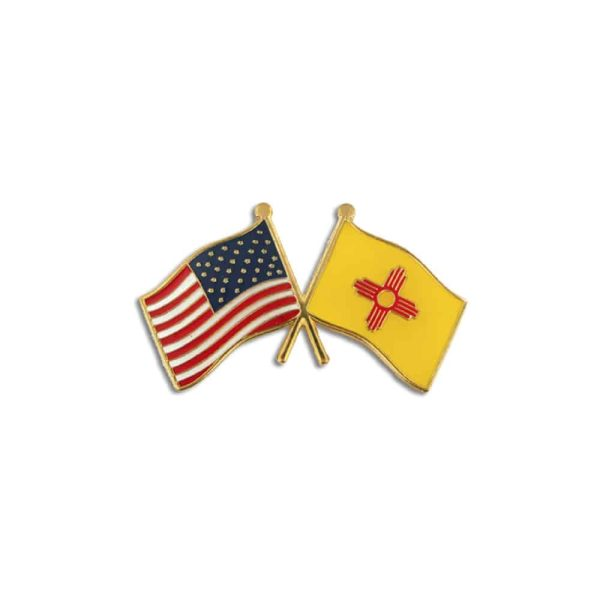 438 New Mexico State and USA Flags Lapel Pin Badge