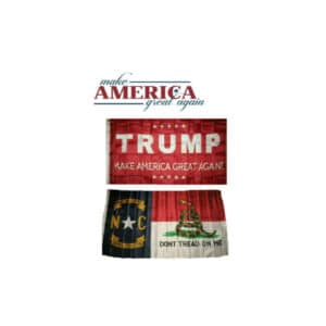 North Carolina State and Trump MAGA Flags, Twin Pack, Red