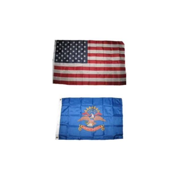 North Dakota State and USA Flags, Twin Pack