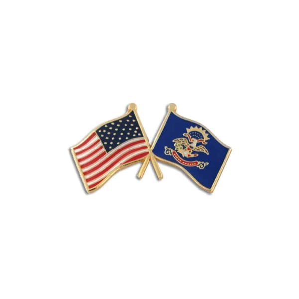 North Dakota State and USA Flags, Lapel Pin Badge