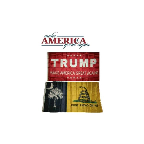 South Carolina State and Trump MAGA Flags, Twin Pack, Red