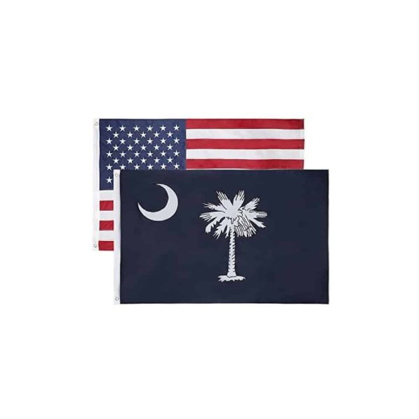 South Carolina State and USA Flags, Twin Pack
