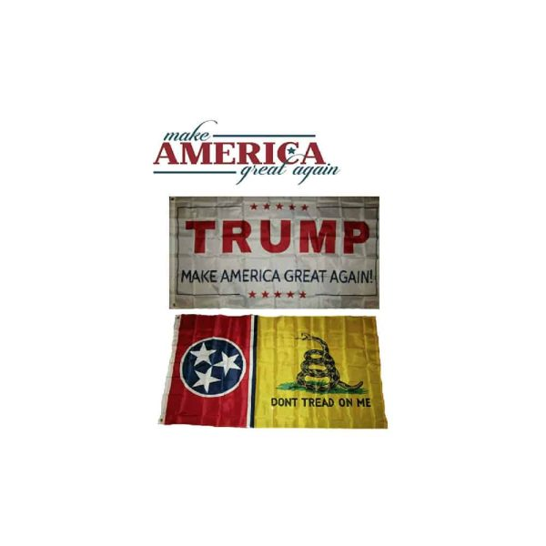 Tennessee State and Trump MAGA Flags, Twin Pack, White