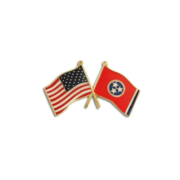 Tennessee State and USA Flags Lapel Pin Badge