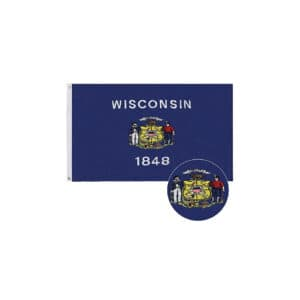 Wisconsin State Flag, 3x5ft Polyester