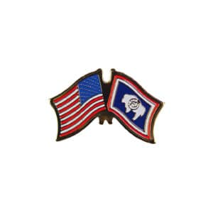 Wyoming State and USA Flags, Lapel Pin Badge