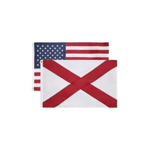 647 Alabama State and USA Flags, Twin Pack