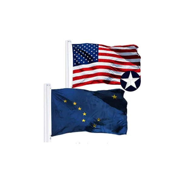 652 Alaska State and USA Flags, Twin Pack