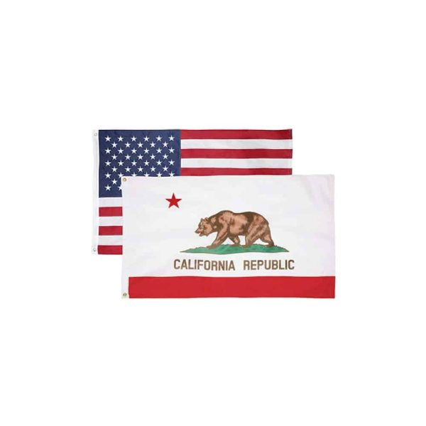 671 California State and USA Flags, Twin Pack